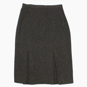 Tweed Kick Pleat Wool Midi Fully Lined Skirt